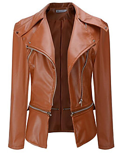 cheap Women's Blazers & Jackets-Women's Street chic Leather Jacket-Solid Colored,Pleated Peter Pan Collar