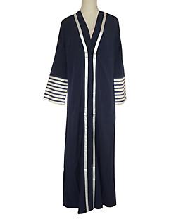 baratos Costumes étnicas e Cultural-Vestidos Vestido Kaftan Mulheres Festival / Celebração Trajes da Noite das Bruxas Roupa Azul Listrado Fashion / Chifon