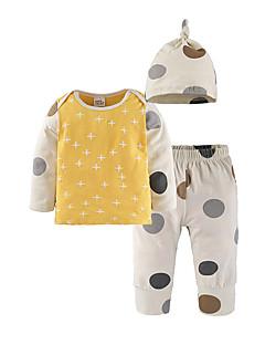 billige Sett med babyklær-Baby Unisex Tøjsæt Daglig I-byen-tøj Prikker, Bomuld Alle årstider Langærmet Simple Afslappet Gul
