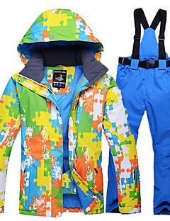 お買い得  スキーウェア-男性用 スキージャケット&パンツ ウォーム 防水 防風 耐久性 通気性 ライトウェイト スキー コットン