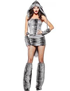 billige Voksenkostymer-Ulv Kjoler Cosplay Kostumer Kvinnelig Halloween Karneval Nytt År Festival / høytid Halloween-kostymer Grå Fargeblokk Dyr