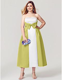 お買い得  カラー・パネルパターンドレス-tscouture®によるaラインのストラップレス茶の長さサテンのホームカミングプラスサイズ正式なイブニングドレス