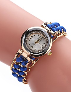 baratos -Mulheres Relógio de Moda Bracele Relógio Relógio de Pulso Chinês Quartzo imitação de diamante Tecido Banda Casual Boêmio Preta Branco