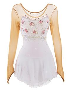 preiswerte -Eiskunstlaufkleid Damen Mädchen Eislaufen Kleider Weiß/Weiß Strass Applikationen Blumig Blütenblätter Hochelastisch Sport Leistung