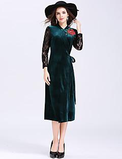 Kadın Günlük/Sade Çin Stili Kılıf Elbise Solid,Uzun Kol Dik Yaka Midi Polyester Kış Sonbahar Normal Bel Mikro-Esnek Kalın