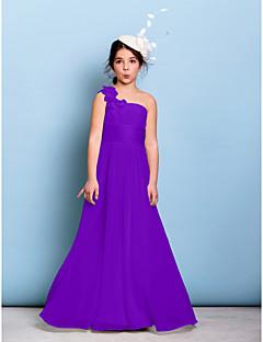 tanie Sukienki dla dziewczynek z kwiatami-Krój A Na jedno ramię Sięgająca podłoża Szyfon Sukienka dla młodszej druhny z Szafra / Wstążka / Krzyżowe / Z marszczeniami przez LAN TING BRIDE® / Natutalne