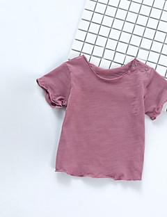 billige Babyoverdele-Baby Pige T-shirt Ensfarvet, Bomuld Kortærmet Normal Lyserød Beige Lilla Gul Marineblå