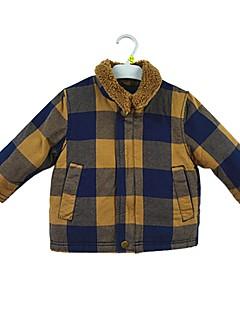 billige Overdele til drenge-Drenge Bluse Ternet, Bomuld Vinter Langærmet Simple Aktiv Kakifarvet