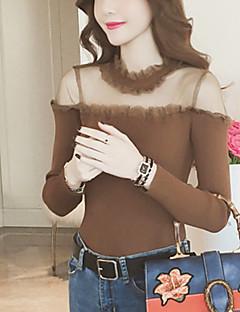 tanie Swetry damskie-Damskie Kaszmir Na co dzień Długi Rozpinany Jendolity kolor Długi rękaw