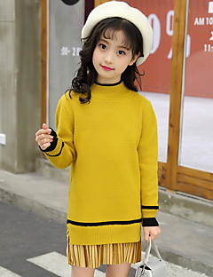 cheap Girls' Clothing-Girls' Solid Sweater & Cardigan, Cotton Spring Fall Long Sleeves Cute Active Cartoon Brown Green Black Yellow
