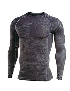 billige Løbetøj-Herre Løbe-T-shirt Langærmet Strækkende Sweatshirt / T-Shirt for Træning & Fitness / Løb Polyester Grå / Mørkegrå / Ru Sort XXL / XXXL /