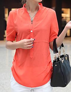 abordables Camisas y Camisetas para Mujer-Mujer Blusa, Escote Chino Un Color Poliéster
