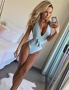billige Bikinier og damemote 2017-Dame Grunnleggende Stikkende halslinje En del Helfarge