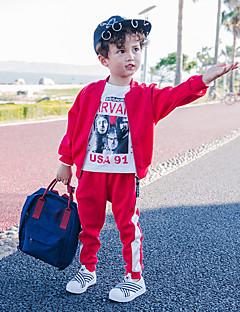billige Tøjsæt til drenge-Drenge Tøjsæt Daglig Trykt mønster, Bomuld Forår Langærmet Afslappet Grøn Sort Rød