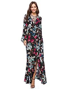cheap Women's Dresses-Women's Beach Boho Flare Sleeve Loose Dress - Color Block, Split Print High Waist Maxi V Neck