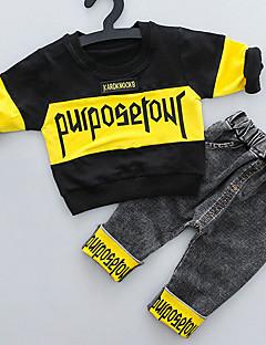 billige Barns Moteklær-baby gutt er 2 stk dress farge blokk brev mønster mote alle match bukser sett