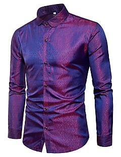 お買い得  メンズファッション&ウェア-男性用 クラブ - ジャカード シャツ スリム カモフラージュ コットン