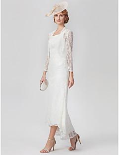 preiswerte Brautmutter Kleider-A-Linie U-Ausschnitt Asymmetrisch Überall Spitze Brautmutterkleid mit Spitze / Plissee durch LAN TING BRIDE®