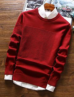 tanie Męskie swetry i swetry rozpinane-Męskie Podstawowy Okrągły dekolt Pulower Jendolity kolor Długi rękaw