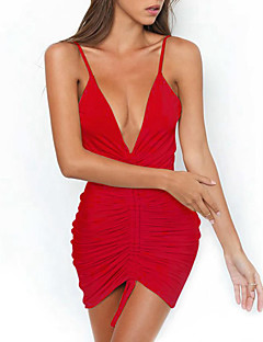 cheap Women's New Ins-Women's Bodycon Dress - Solid, Backless Ruched Mini Strap