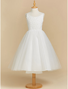 cheap Flower Girl Dresses-Ball Gown Tea Length Flower Girl Dress - Lace Tulle Sleeveless Scoop Neck with Appliques by LAN TING BRIDE®