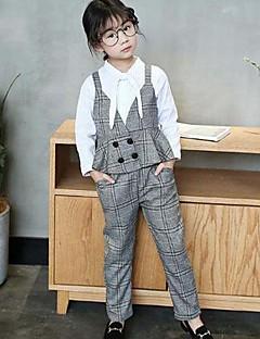 billige Tøjsæt til piger-Pige Tøjsæt Daglig I-byen-tøj Ternet, Bomuld Rayon Forår Efterår Simple Vintage Brun Lysegrå