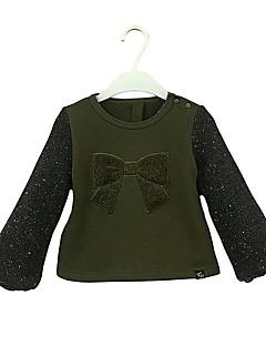 billige Jenteklær-Jente Hettegenser og sweatshirt Ensfarget Polkadotter Bomull Vår Høst Langt Erme Enkel Søtt Militærgrønn