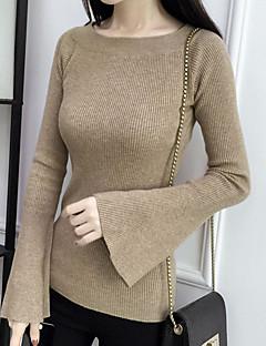 baratos Suéteres de Mulher-Mulheres Manga Longa Pulôver - Sólido / Decote Canoa / Outono / Inverno / luva do alargamento