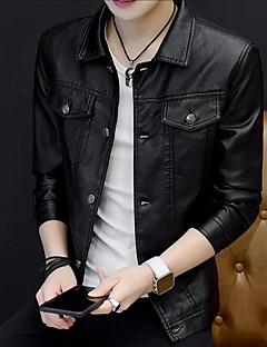 お買い得  メンズジャケット&コート-男性用 プラスサイズ レザージャケット - ストリートファッション シャツカラー ソリッド