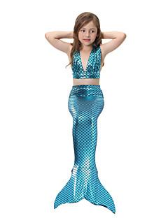 tanie Odzież dla dziewczynek-Dla dziewczynek Urocza Aktywny Jendolity kolor Nadruk Stroje kąpielowe, Bawełna Poliester Bez rękawów Purple Fuchsia Rainbow Light Blue