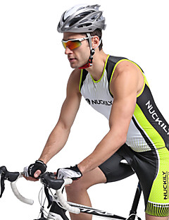 cheap Triathlon Clothing-Nuckily Men's Short Sleeves Tri Suit - Green Geometic Bike Anatomic Design, Ultraviolet Resistant, Breathable, Spring Summer, Polyester