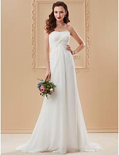 billiga Plusstorlek brudklänningar-A-linje / Prinsessa Axelbandslös Svepsläp Chiffong / Spets Bröllopsklänningar tillverkade med Spets / Korsvis av LAN TING BRIDE®