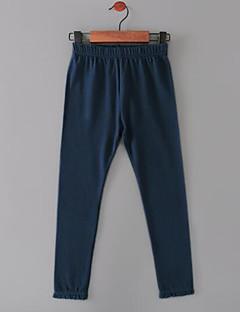 billige Bukser og leggings til piger-Pige Bukser Ensfarvet, Nylon Efterår Normal Hvid Sort Lyserød Army Grøn Marineblå
