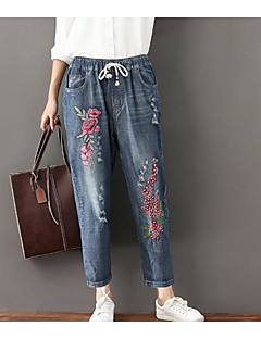 billige Tights til damer-Dame Enkel Mikroelastisk Jeans Bukser, Mellomhøyt liv Vinter Høst