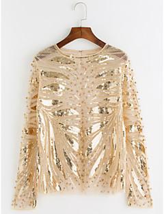 baratos Blusas Femininas-Mulheres Camiseta Sofisticado Paetês Com Transparência Estampado, Multi-Côr