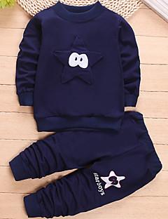 levne Chlapecké oblečení-Chlapecké Sport Patchwork Sady oblečení, Bavlna Jaro Dlouhý rukáv Na běžné nošení Námořnická modř