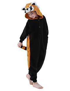 billige Kigurumi-Kigurumi-pysjamas Vaskebjørn Onesie-pysjamas Kostume Polar Fleece Svart Cosplay Til Barn Pysjamas med dyremotiv Tegnefilm Halloween