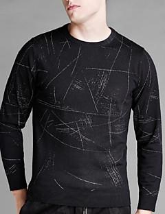 billige Herremote og klær-Herre Pullover Trykt mønster Rund hals