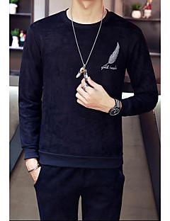billige Hættetrøjer og sweatshirts til herrer-Herre Langærmet Rund hals Aktiv beklædning sæt - Ensfarvet