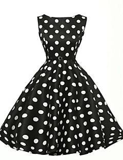 halpa -Naiset A-linja Mekko Vintage Party Plus-koko,Polka Dot Venekaula-aukko Polvipituinen Hihaton Puuvilla Polyesteri Kesä Korkea vyötärö