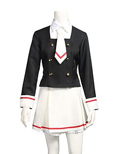 baratos Fantasias Anime-Inspirado por Cardcaptor Sakura Sakura Anime Fantasias de Cosplay Ternos de Cosplay Preto e Branco Manga Longa Blusa Saia Colar Meias Para