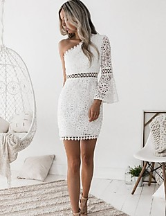 cheap Women's Dresses-Women's Club Going out Sophisticated Flare Sleeve Sheath Dress - Solid Color White, Lace Mini One Shoulder