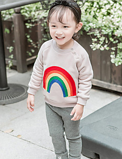 billige Babytøj-Baby Pige Bluse Regnbue Langærmet Normal Blå Lyserød Lysebrun