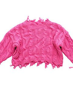 billige Sweaters og cardigans til drenge-Drenge Trøje og cardigan Daglig Ensfarvet, Bomuld Forår Langærmet Simple Sort Rosa