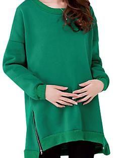 tanie Damskie bluzy z kapturem-Damskie Długi rękaw Długi Bluzy - Jendolity kolor