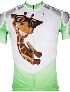 billige Sykkelklær-ILPALADINO Herre Kortermet Sykkeljersey - Hvit / Grønn Tegneserie Dyr Sykkel Jersey, Fort Tørring, Ultraviolet Motstandsdyktig, Pustende,