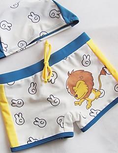 cheap Boys' Swimwear-Boys' Print Swimwear, Polyester White