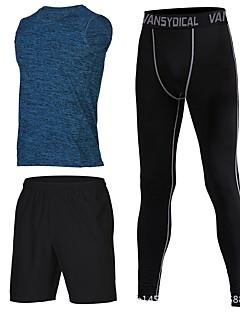 billiga Träning-, jogging- och yogakläder-Herr Runningskjorta med byxor - Blå, Rosa, Grå sporter Shorts / Leggings Fitness, Gym, Träna Ärmlös Sportkläder Torkar snabbt