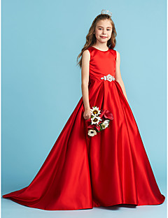 cheap Junior Bridesmaid Dresses-A-Line Princess Jewel Neck Floor Length Satin Junior Bridesmaid Dress with Bow(s) Crystal Detailing Pleats by LAN TING BRIDE®