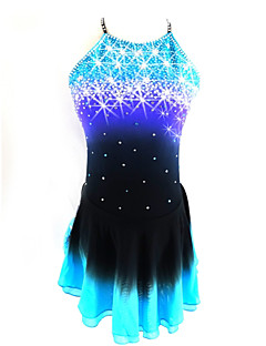 abordables Patinaje Sobre Hielo-Vestido de patinaje artístico Mujer / Chica Patinaje Sobre Hielo Vestidos Negro / azul Licra Ropa de Patinaje Lentejuela Sin Mangas